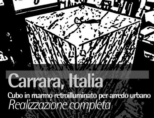 Carrara, Italia, Cubo in marmo retroilluminato per arredo urbano